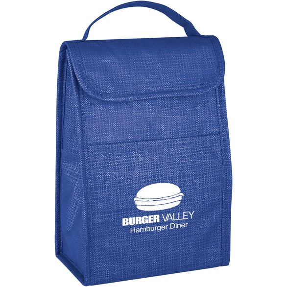 Blue Crosshatch Lunch Bag