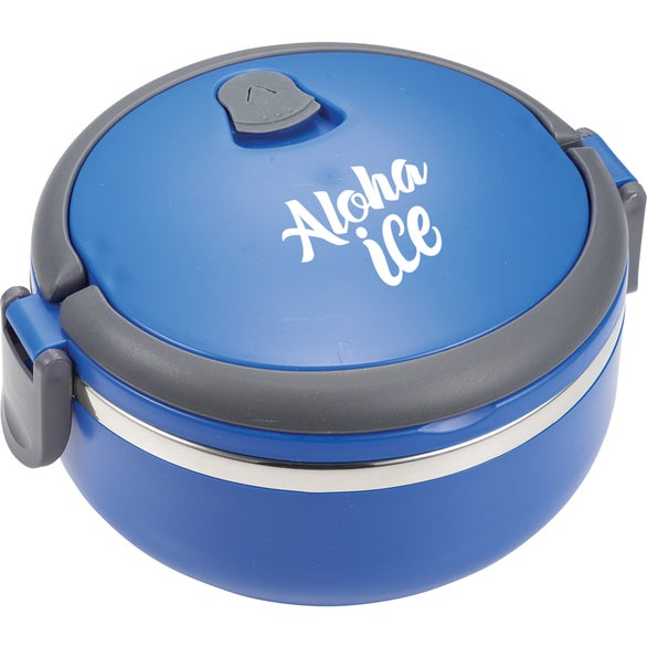Blue Round Insulated Lunch Box Food Container