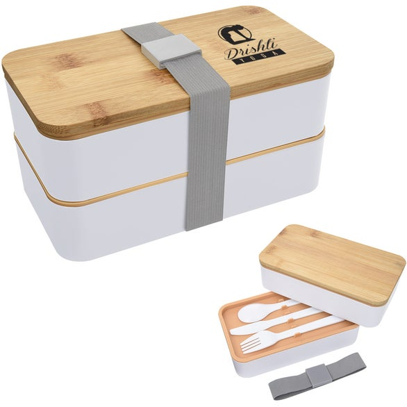 White / Natural Stackable Bento Lunch Set
