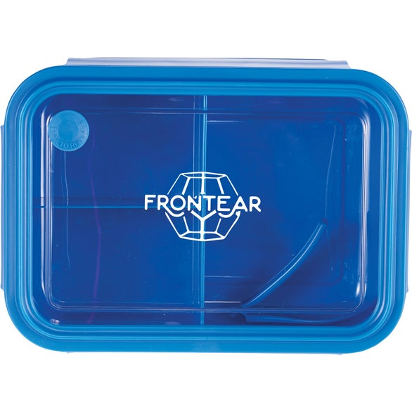 Blue Three Compartment Food Storage Bento Box