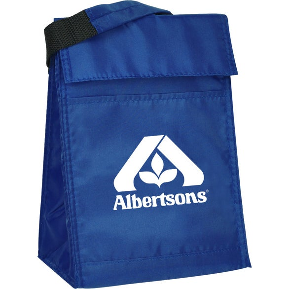Blue Velcro Closure Insulated Lunch Bag