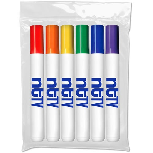 White Six Pack Washable Markers