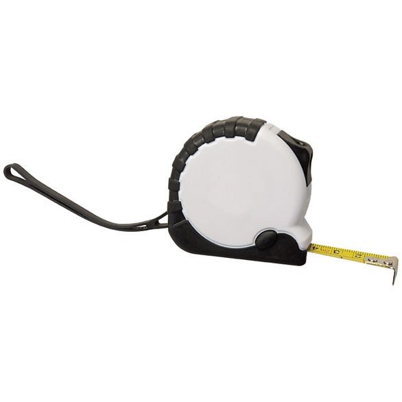 White / Black Heavy Duty Tape Measure with Rubber Trim