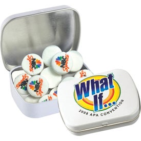 Domed Tin with Imprinted Round Mints