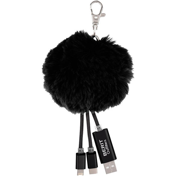 Black 3-In-1 Pom Puff Charging Cable