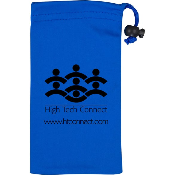 Blue Clean-N-Carry Microfiber Drawstring Pouch