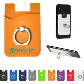 Silicone Card Holder with Metal Ring Phone Stand