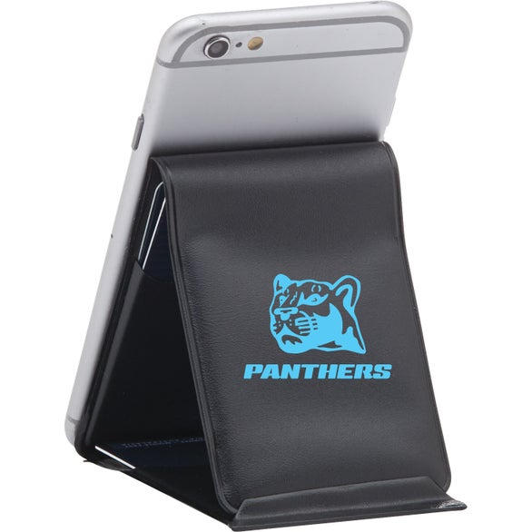 Black Vinyl Trifold Smartphone Wallet and Stand