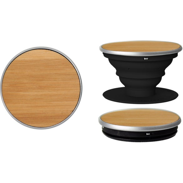 Bamboo / Black Wood PopSocket Smartphone Grip Stand
