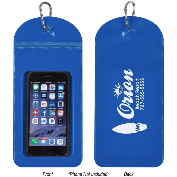 Blue Splash Proof Phone Pouch with Carabiner