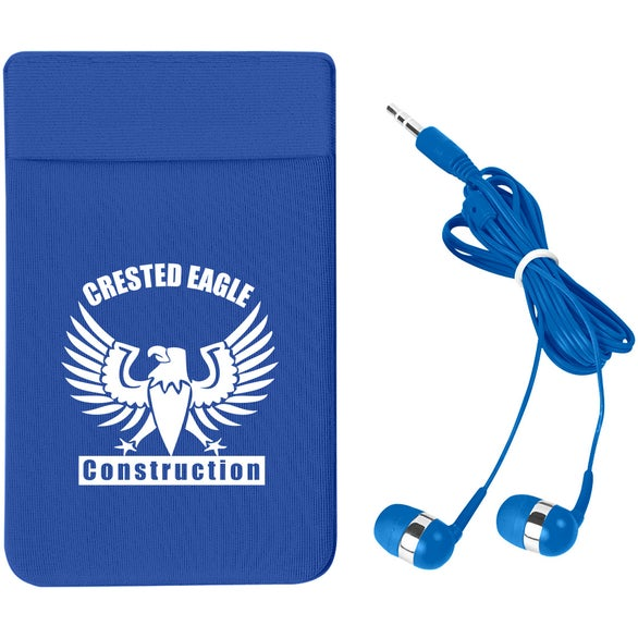 Blue Stretch Phone Card Sleeve with Earbuds