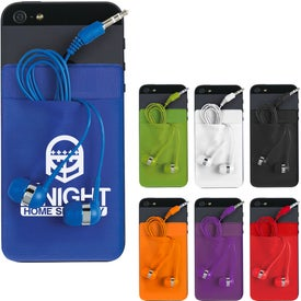 Stretch Phone Card Sleeve with Earbuds