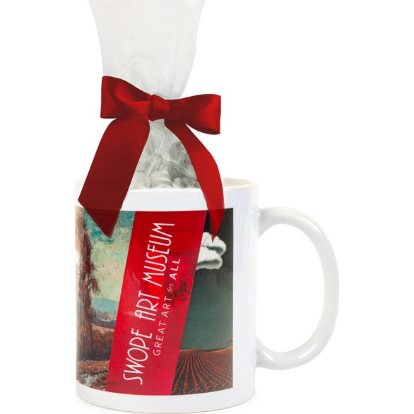 White / Red Mug with Imprinted Chocolate Buttons Mug Drop