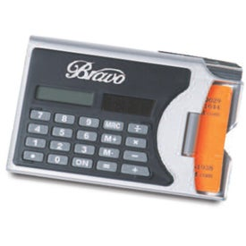 Logo 2 In 1 Solar Calculator Business Card Holder with Pen