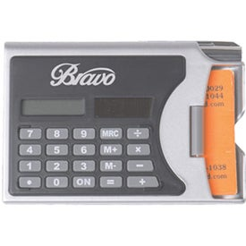 2 In 1 Solar Calculator Business Card Holder with Pen