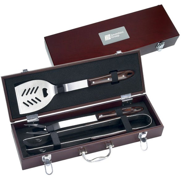 Wood Grain 3 Piece Executive Barbecue Set
