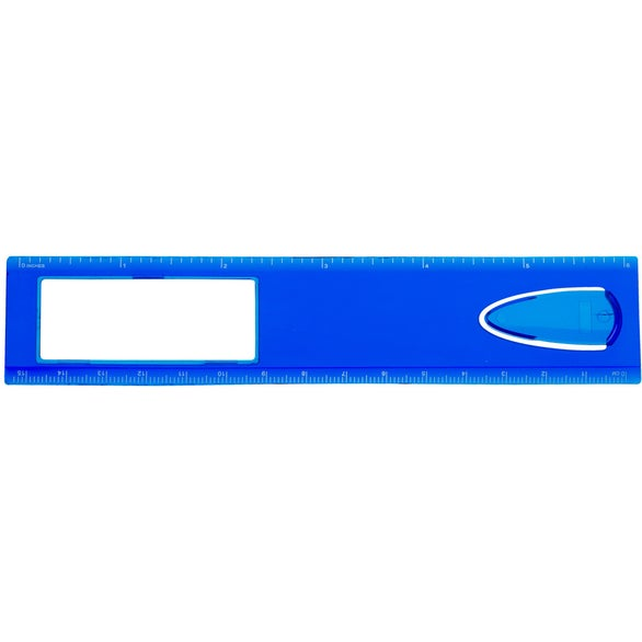 Translucent Blue Magnifier Ruler with Bookmark