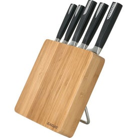 6 Pc Bamboo Knife Block Set