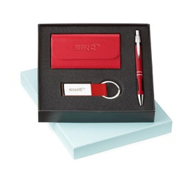 Ace Ballpoint Leather Card Holder and Key Ring for Advertising