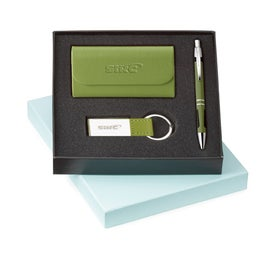 Logo Ace Ballpoint Leather Card Holder and Key Ring