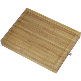 Bamboo Cutting Board with Knives Imprinted with Your Logo