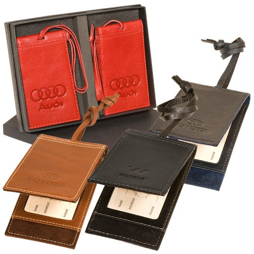 Corporate Branded Leather Luggage Tags e3x6VQ6Ah