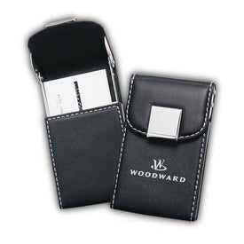 Black Faux Leather Business Card Holder