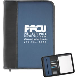 Blue Baron Ribbed Portfolio Imprinted with Your Logo