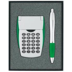 Branded Calculator/Ballpoint Pen Gift Set