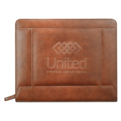 Brown Cutter and Buck Legacy Zippered Padfolio