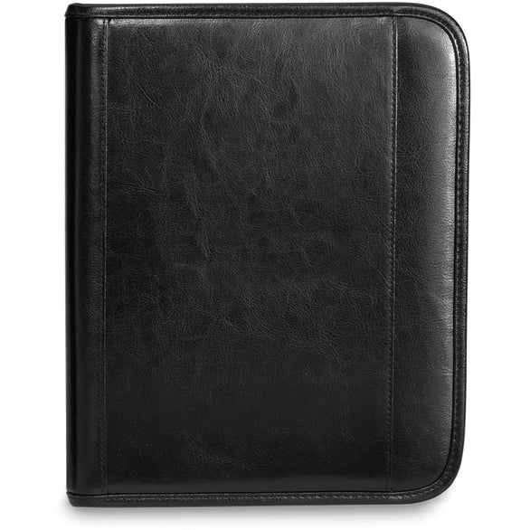 Black Deluxe Leather Wired-E Padfolio