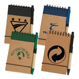 Eco Pocket Jotter with Eco Paper Barrel Pen (60 Sheets)