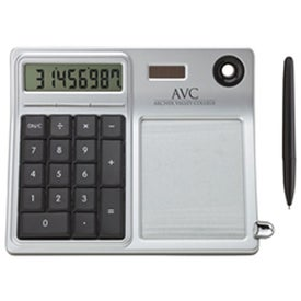 Erasable Memo Pad and Desktop Solar Calculator with Your Slogan