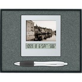 Frame Calendar Clock/Ballpoint Pen Gift Set with Your Logo