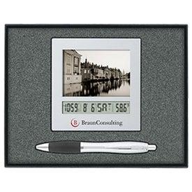 Frame Calendar Clock/Ballpoint Pen Gift Set