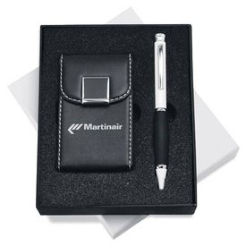 Leather Business Card Holder and Pen Gift Set