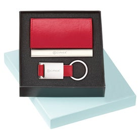 Custom Leather Card Holder and Key Ring Set
