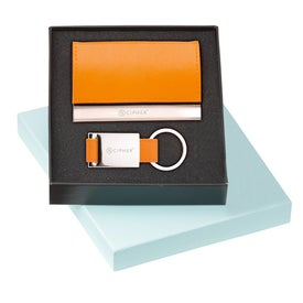 Leather Card Holder and Key Ring Set for Marketing