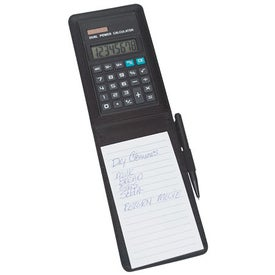 Imprinted Leather Look Notebook with Calculator and Pen