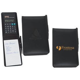 Leather Look Notebook with Calculator and Pen