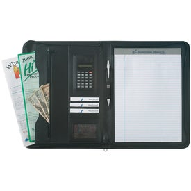 Leather Look Zippered Portfolio with Calculator for Promotion