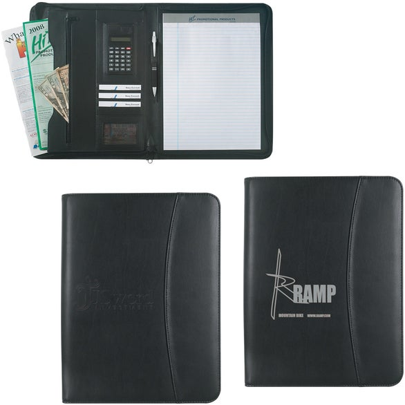 Black Leather Look Zippered Portfolio with Calculator