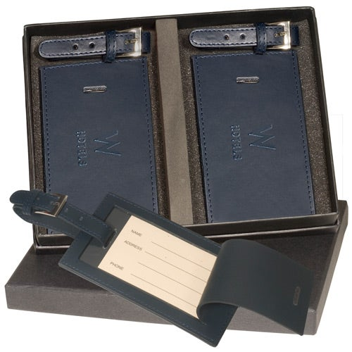 Navy Marquis Two Luggage Tag Set