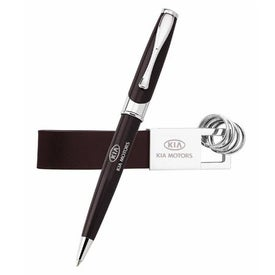 Maxine Ballpoint and Leather Key Ring Set Branded with Your Logo