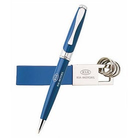 Printed Maxine Ballpoint and Leather Key Ring Set