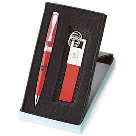 Maxine Ballpoint and Leather Key Ring Set Imprinted with Your Logo