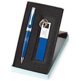 Company Maxine Ballpoint and Leather Key Ring Set