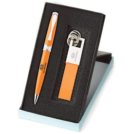 Personalized Maxine Ballpoint and Leather Key Ring Set