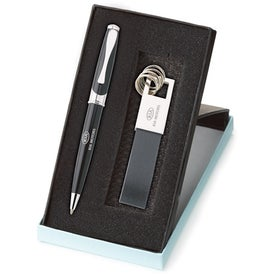 Maxine Ballpoint and Leather Key Ring Set for Your Organization