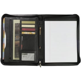 Millennium Leather Zippered Padfolio for Advertising